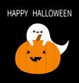 happy halloween ghost spirit hugs pumpkin funny vector image vector image