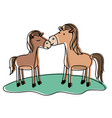 horses couple over grass in watercolor silhouette vector image