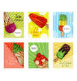 ice cream cards summer natural fresh and cold vector image vector image