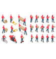 isometric icons delivery man and woman vector image