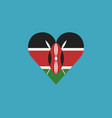 kenya flag icon in a heart shape in flat design vector image vector image