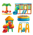 kids playground with carousel and slide vector image vector image