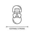 kokeshi pixel perfect linear icon traditional vector image