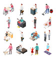 life of ordinary people isometric icons vector image