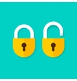 Lock open and closed icons isolated on blue vector image
