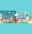 messy children room before after vector image vector image