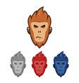 monkey ape head face logo mascot character set