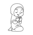 moslem girl praying bw vector image vector image