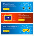 music service video service game development line vector image vector image