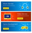 music service video service game development line vector image