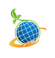natural plant with technology globe icon vector image
