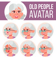 old woman avatar set face emotions senior vector image vector image