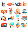 online store icons collection vector image vector image