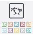 Palm Tree sign icon Travel trip symbol vector image vector image
