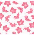 pink cherry sakura flowers polka dot pattern vector image vector image