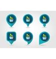 Plant in pot flat pin map icon garden flowerpot vector image vector image