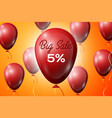 red balloons with an inscription big sale five vector image vector image