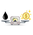 scales oil product money or finance choice vector image