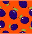 seamless pattern plum on orange background vector image vector image