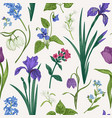 seamless pattern with flowers and herbs vector image vector image