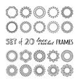 set 20 lace crochet round frames vector image vector image