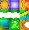 Set of nine different and colorful abstract vector image