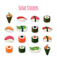 sushi set stickers labels logos asian food vector image vector image