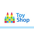 toy shop logo isolated on white - toy castle vector image