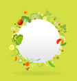 vegetable circle frame with white paper label vector image vector image