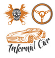 vintage label sport car theme with carflameskull vector image vector image