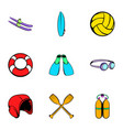 water tourism icons set cartoon style vector image vector image