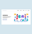 web site design template teamwork vector image vector image