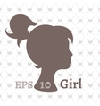 Dark silhouette profile of a young girl vector image
