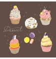 set of colored cakes on a dark brown background vector image