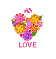 floral heart shape spring greeting card with vector image