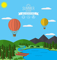 Mountains with forest and river trail landscape vector image