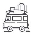 caravantravel camping trailer line icon vector image