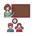 teacher near blackboard and pupils above graphic vector image