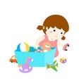 cartoon cute girl storing toys vector image