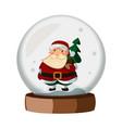 snowball cartoon with santa claus vector image
