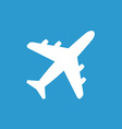 airplane icon white on the blue background vector image