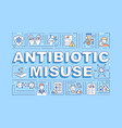 antibiotic misuse word concepts banner vector image vector image