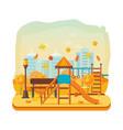 autumn kids playground horizontal bars swings vector image