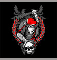 bandit skull in hipster cap and skeleton hands vector image vector image