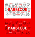 barbecue meat and sausages grill line icons vector image vector image