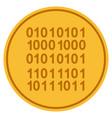 binary code gold coin vector image vector image