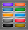 blank metallic glossy web buttons set vector image