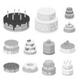 cake and dessert monochrome icons in set vector image