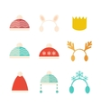 Carnival Christmas hats set isolated vector image