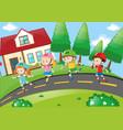 children rollerskating in the neighborhood vector image vector image